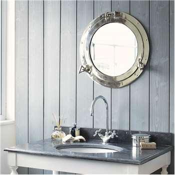 NAVY metal porthole mirror (H 51cm)