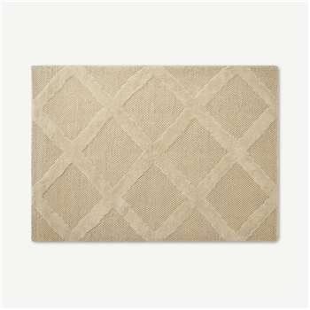 Naylor Textured Wool Rug, Ecru Diamond (H160 x W230cm)