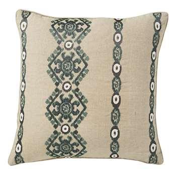 Nazar Cushion Cover, Large - Natural/Teal (51 x 51cm)