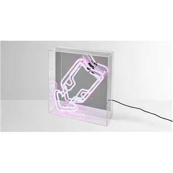 Neon Arrow Table Lamp, White & Pink (H30 x W32 x D11cm)