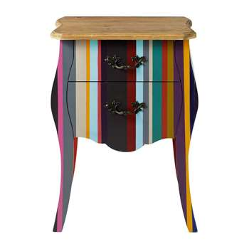 NEON Paulownia wood stripe bedside table, multicoloured (62 x 45cm)
