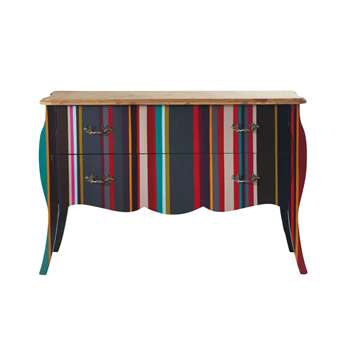NEON Wooden striped chest of drawers, multicoloured (80 x 120cm)