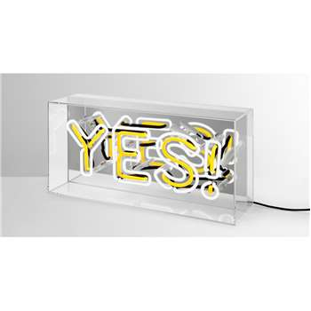 Neon Yes Table Lamp, White & Yellow (H16 x W36 x D11cm)