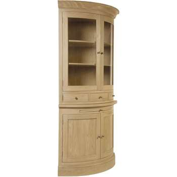Neptune Henley Curved Glazed Rack Oak Dresser (H209 x W78 x D78cm)