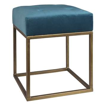 NERO Blue Padded Fabric Stool (42 x 35cm)