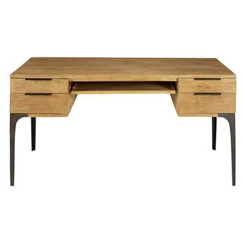 NETROPOLIS Solid mango wood and acacia 4-drawer desk (77 x 155cm)