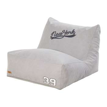 NEW YORK Grey Print Cotton Footstool (H100 x W70 x D80cm)