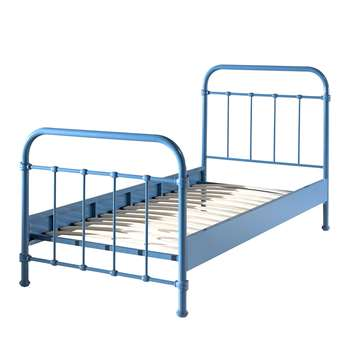 New York Metal Kids Bed in Blue (H110 x W98 x D210cm)