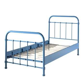 New York Metal Kids Bed in Blue (H110 x W98 x D210cm)