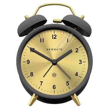 Newgate Charlie Bell Alarm Clock, Grey/Brass (H14 x W14 x D5.5cm)