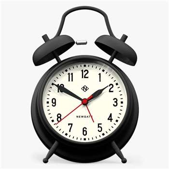Newgate Charlie Twin Bell Alarm Clock, Black (H17 x W11.7 x D5.5cm)