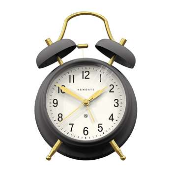 Newgate Clocks - Brick Lane Alarm Clock - Moonstone/Brass (H17 x W11.5 x D5.5cm)