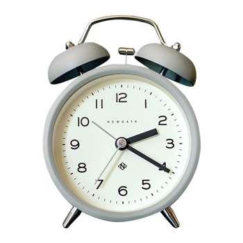 Newgate Clocks - Charlie Bell Echo Alarm Clock - Matt Posh Grey (H14.5 x W9.5 x D5.5cm)