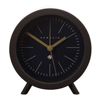 Newgate Clocks - Fred Alarm Clock - Chocolate Black - Black Dial (H11 x W11.7 x D7.2cm)