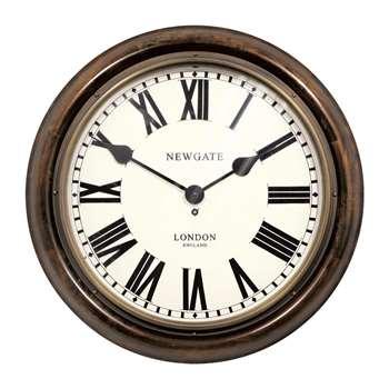 Newgate Clocks - King's Cross Station Clock - Dark Wood - Large (H50 x W50 x D12cm)