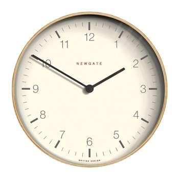 Newgate Clocks - Mr Clarke Clock - Light Plywood (H28 x W28 x D4.3cm)