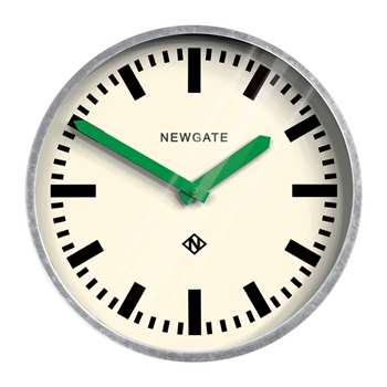 Newgate Clocks - The Luggage Galvanised Wall Clock - Green Hands (H30 x W30 x D7cm)