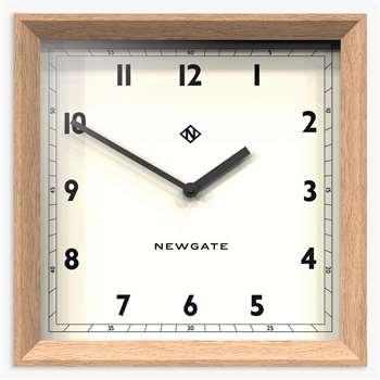 Newgate Old Joe Wood Case Square Wall Clock, Natural (H40 x W40 x D7cm)