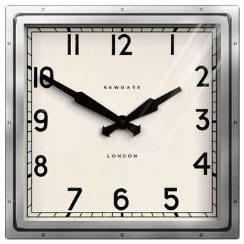 Newgate Quad Wall Clock, Silver (H40 x W40 x D9cm)
