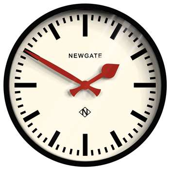 Newgate The Luggage Clock, Black (H30 x W30 x D7cm)