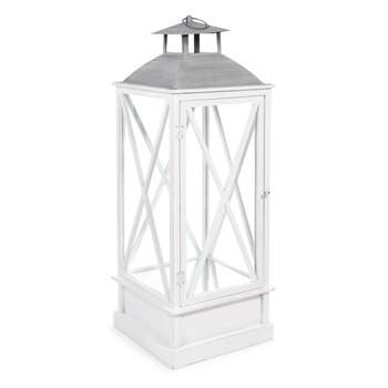 NEWPORT Metal and Wood Lantern in White (H88 x W39 x D39cm)