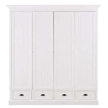 NEWPORT - White 4-Door 4-Drawer Wardrobe (H195 x W180 x D61cm)