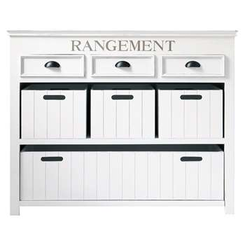 NEWPORT Wooden drawer chest and crates in white (100 x 124cm)