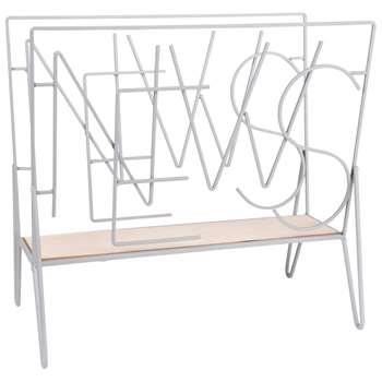 NEWS Grey Metal Magazine Rack (H37 x W40 x D22cm)