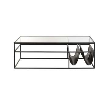 NEWSPAPER - Black Metal and Glass Coffee Table (H40 x W120 x D60cm)