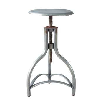 NEWTON Antiqued metal industrial stool (50 x 32cm)