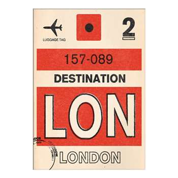 Nick Cranston - Luggage Labels: London Unframed Print with Mount (40 x 30cm)