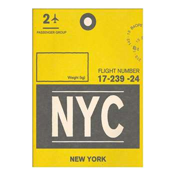 Nick Cranston - Luggage Labels: New York Unframed Print with Mount (40 x 30cm)