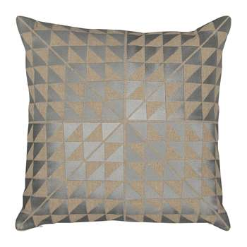 Niki Jones - Geocentric Cushion - 50x50cm - Ash Grey & Natural