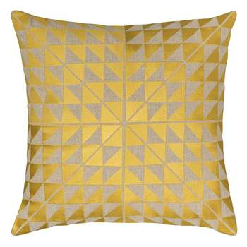 Niki Jones - Geocentric Cushion - Gold & Natural (50 x 50cm)