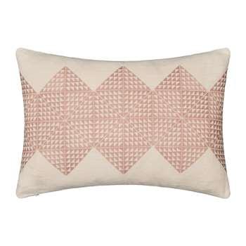 Niki Jones - Geotile Cushion - Dusky Pink & Ivory Linen (H40 x W60cm)