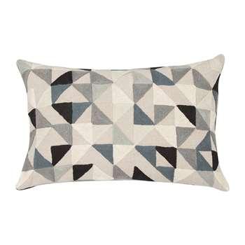 Niki Jones - Harlequin Linen Cushion - 40x60cm - Grey