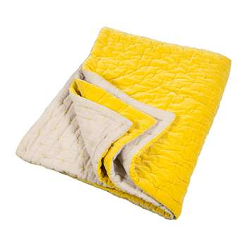 Niki Jones - Velvet Linen Bedspread/Quilted Throw - Chartreuse (140 x 220cm)