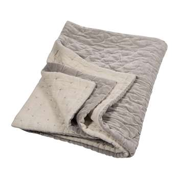 Niki Jones - Velvet Linen Bedspread/Quilted Throw - Oyster Grey (140 x 220cm)