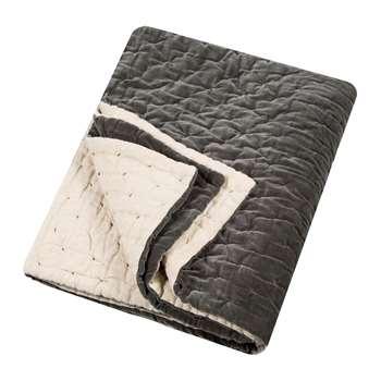 Niki Jones - Velvet Linen Bedspread/Quilted Throw - Slate (H140 x W220cm)