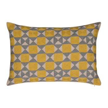 Niki Jones - Zellij Cushion - 40x60cm - Ash Grey & Chartreuse