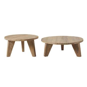 NIKOS - Round Elm Nesting Tables (H145 x W36 x D80cm)