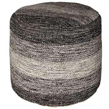NILO Light Grey and Mottled Black Fabric Pouffe (H45 x W40 x D40cm)
