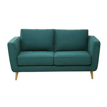 NILS 2/3 seater Kendo fabric sofa in peacock blue (85 x 170cm)