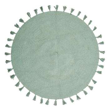 NINA - Round Green Cotton Rug with Pom Poms (Diameter 100cm)
