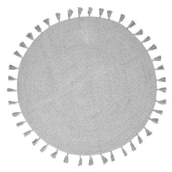 NINA - Round Grey Cotton Rug with Pom Poms (Diameter 100cm)