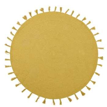NINA Round Yellow Mustard Cotton Rug with Tassels (Diameter 100cm)