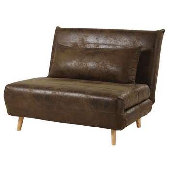 NIO Brown Faux Suede Single Day Bed Sofa (H84 x W107 x D91cm)