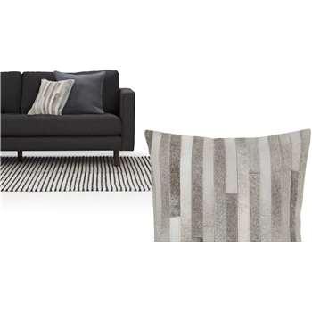 Nissa Cowhide Cushions, Tonal Grey (43 x 43cm)