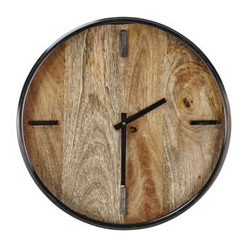 Nkuku - Alomi Mango Wood Clock - Small (Diameter 41cm)