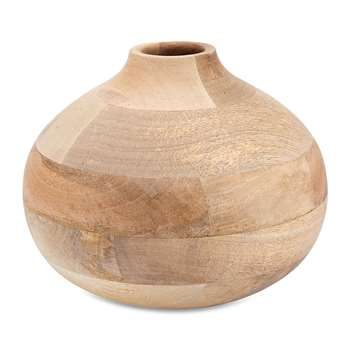 Nkuku - Batwa Mango Wood Round Decorative Vase - Large (H20 x W23 x D23cm)